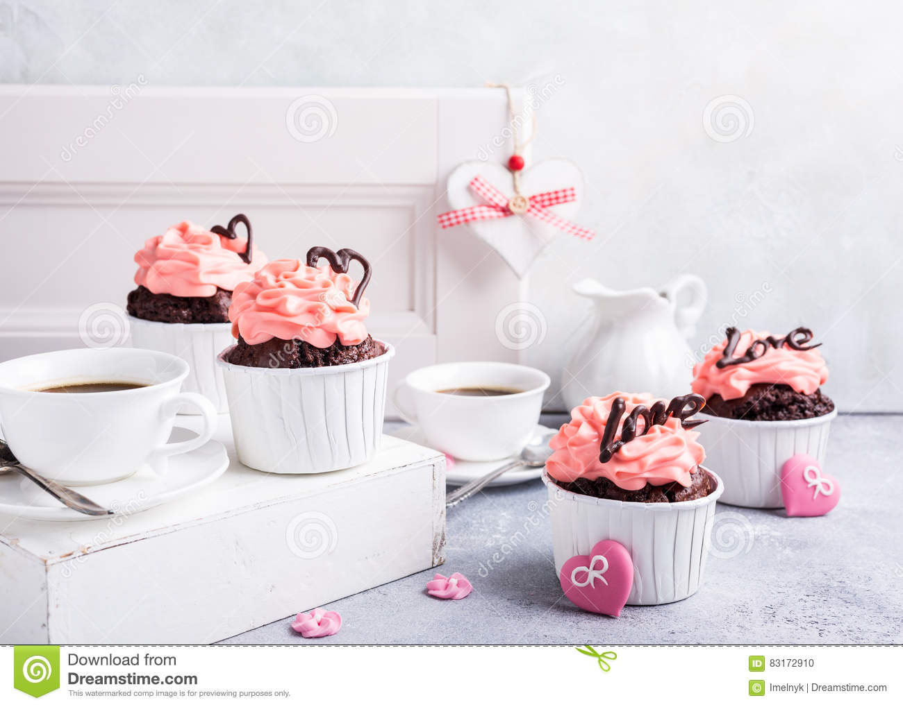 Beautiful Chocolate Cupecake With Heart Stock Photo Image Of Card