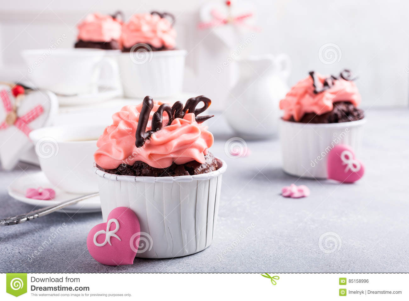Beautiful Chocolate Cupecake With Heart Stock Photo Image Of Fancy