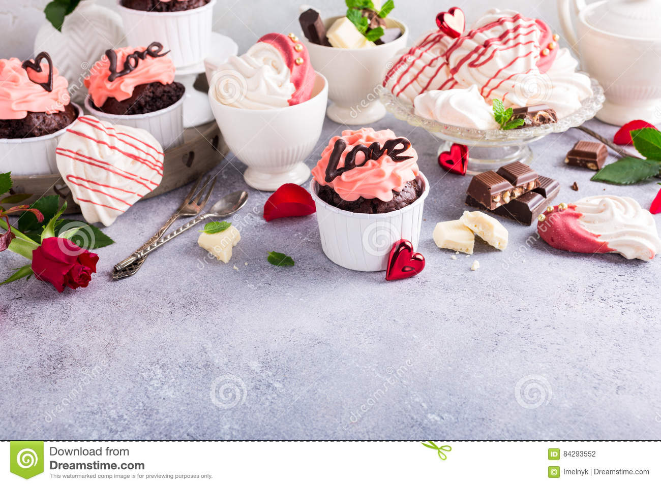 Beautiful Chocolate Cupecake With Meringue Stock Photo Image Of
