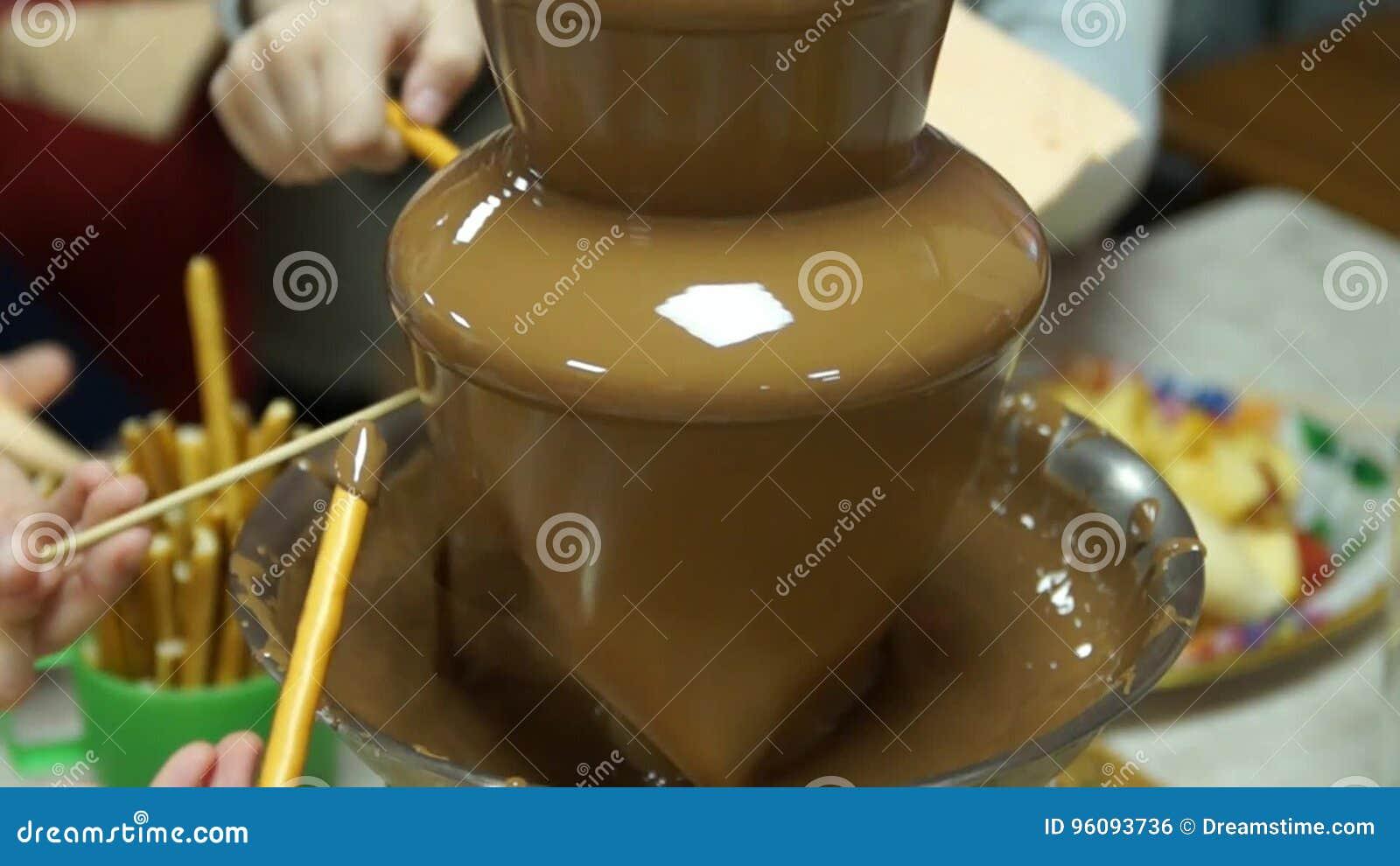 Beautiful Chocolate Fountain Liquid Chocolate Stock Footage
