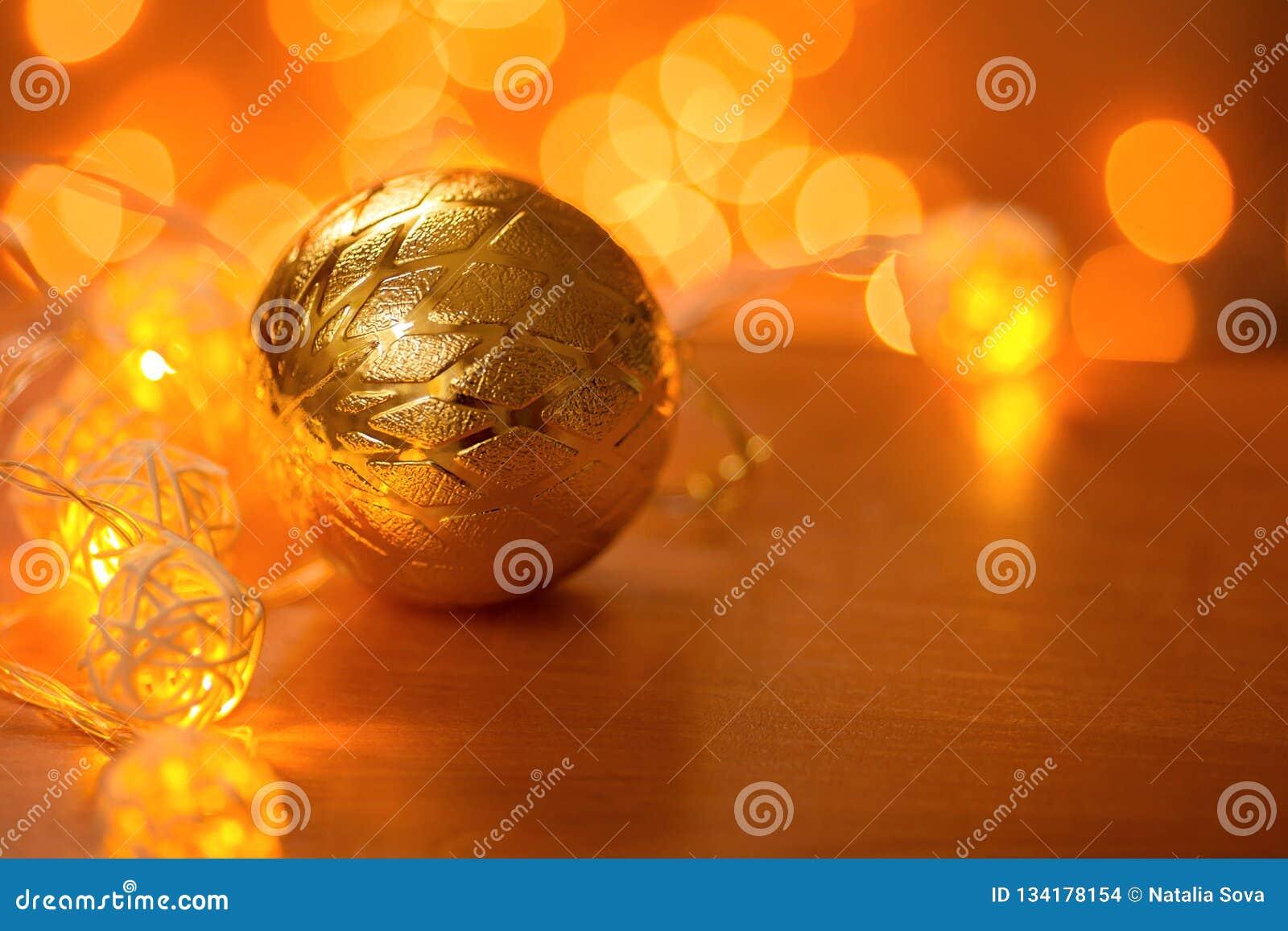 Beautiful Christmas ball on the table
