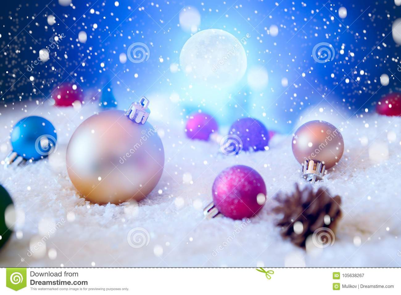 Beautiful Christmas Background.Beautiful Christmas Balls On The Snow In Night Christmas