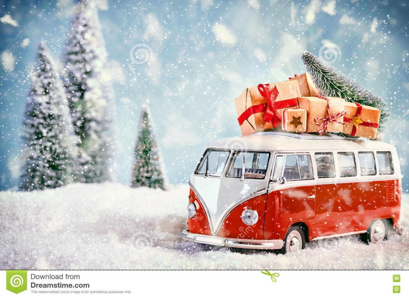 Beautiful Christmas Bus In Snowy Landscape Stock