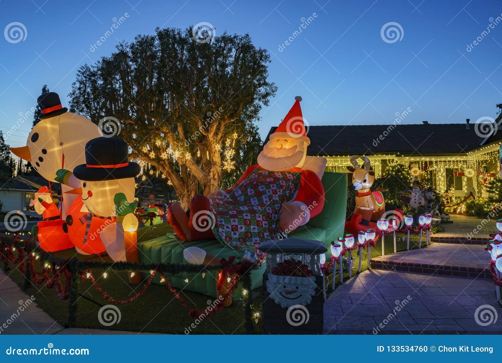 Brea Christmas Lights.Beautiful Christmas Decoration At Brea Neighborhood Stock