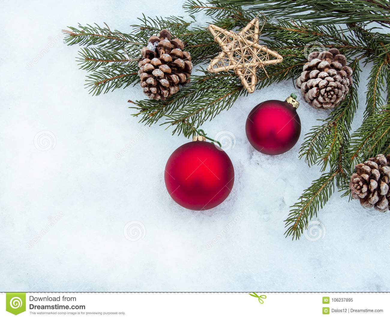 Beautiful Christmas Decorations Border With Copy,space Stock