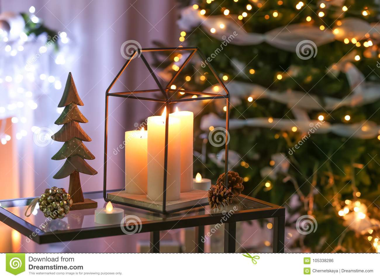 Beautiful Christmas Decorations On Table I Stock Photo Image Of
