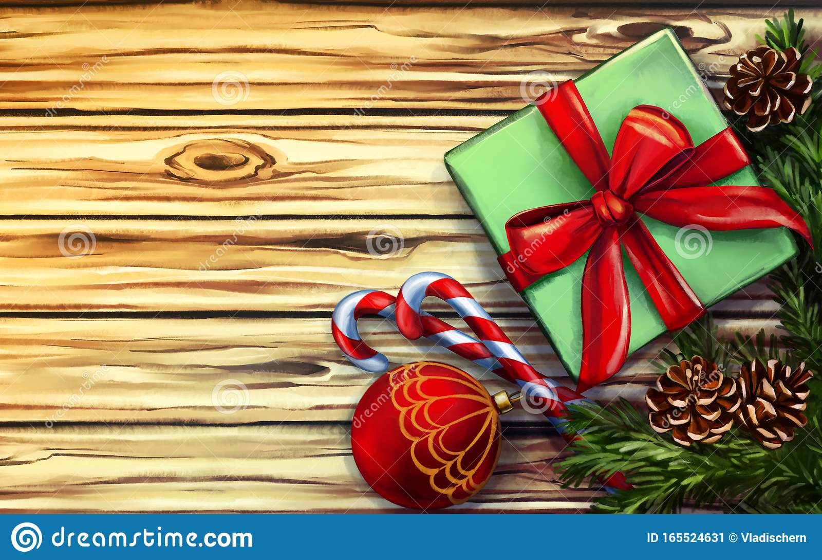 Beautiful Christmas Decorations On Wooden Background ...