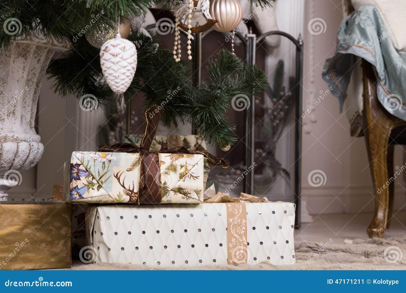 Beautiful Christmas Gifts Below Christmas Tree Stock Photo ...