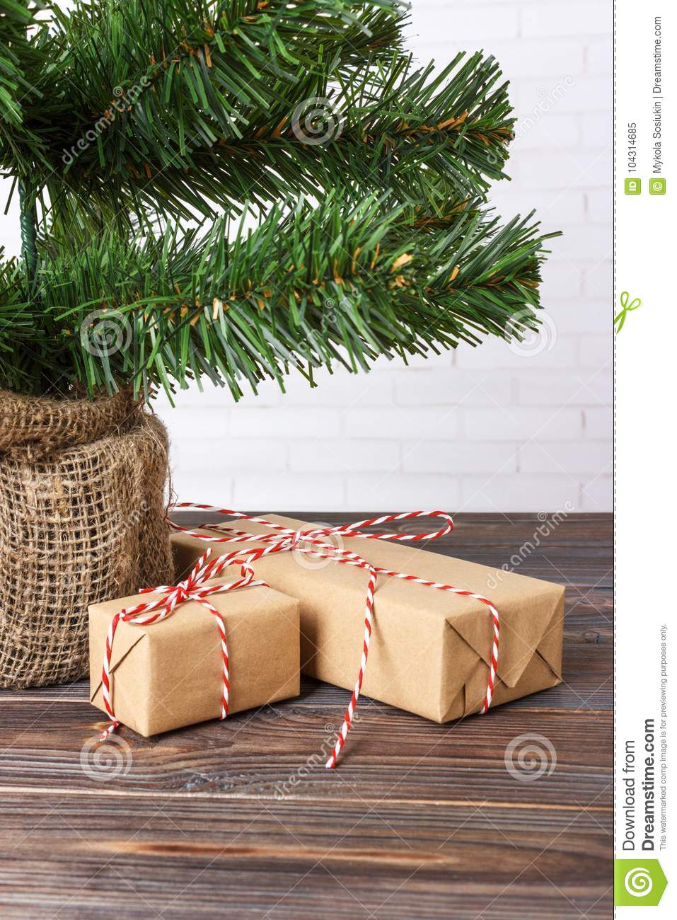 Beautiful Christmas Gifts Under Tree. New Year Gift Decorated Stock ...
