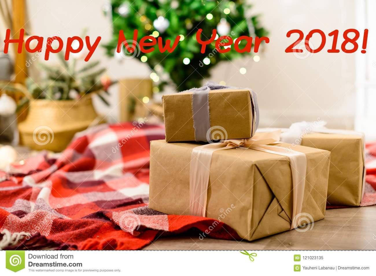 Beautiful Christmas Interior Design With Happy New Year 2018 Phrase Selective Focus On Gifts On The Background Decorated Room W Stock Image Image Of Happy Brightly 121023135