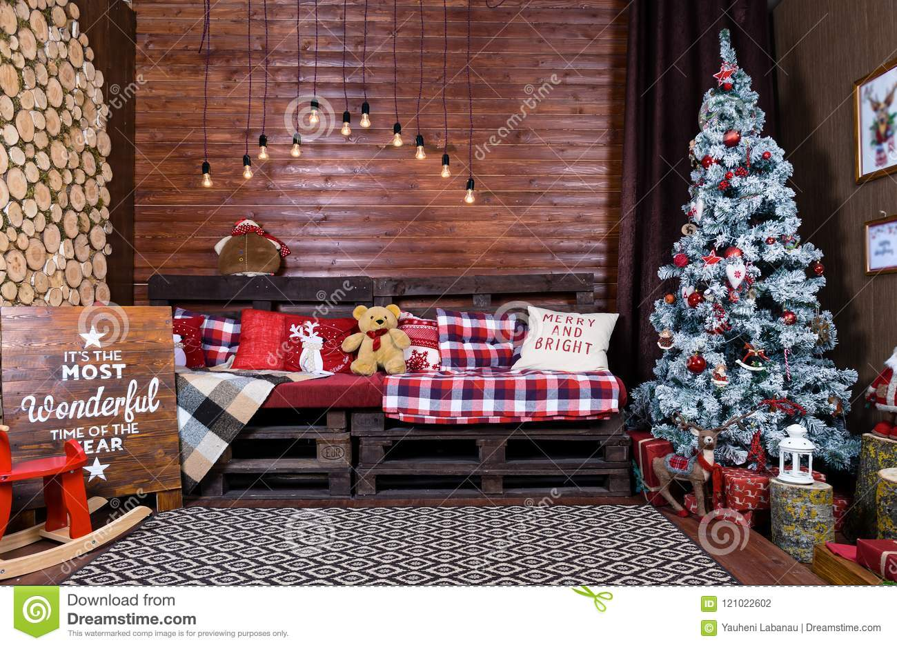 beautiful christmas interior design room decorated with wooden rh dreamstime com