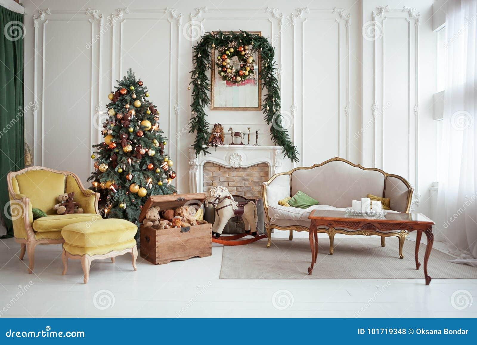 Beautiful Christmas Interior. New Year Decoration. Living ...