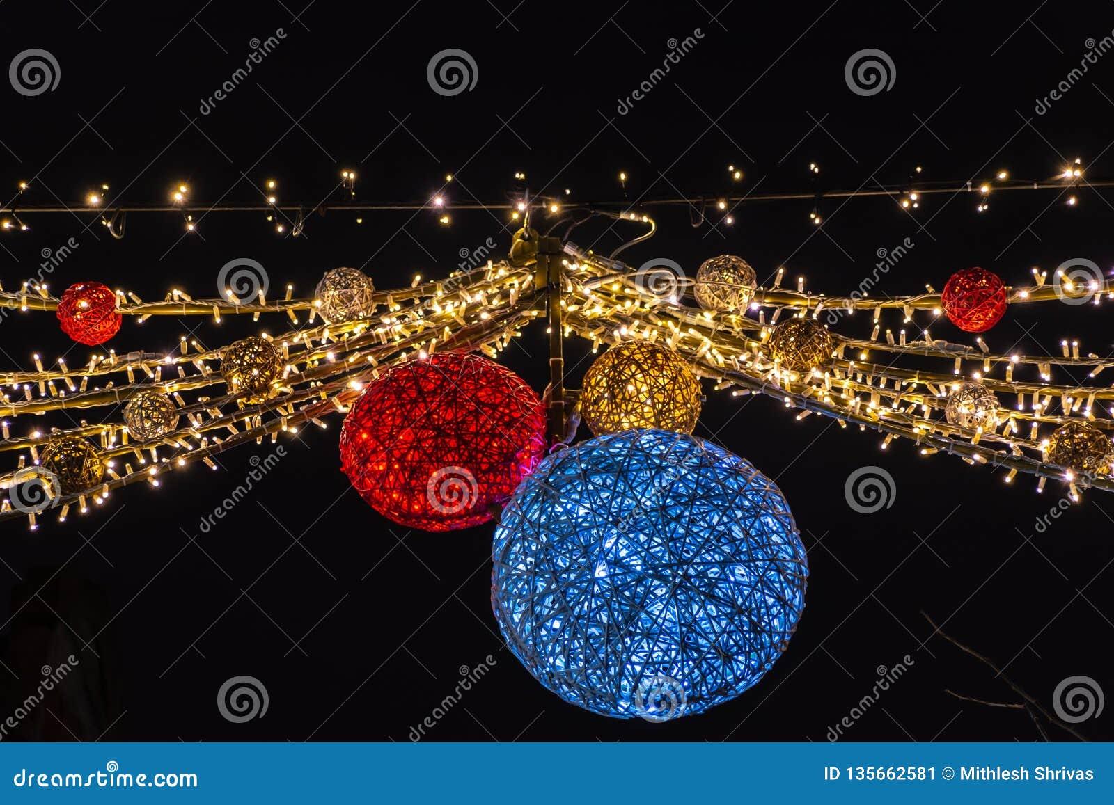 Beautiful Christmas lights hanging on the street, Leuven Belgium