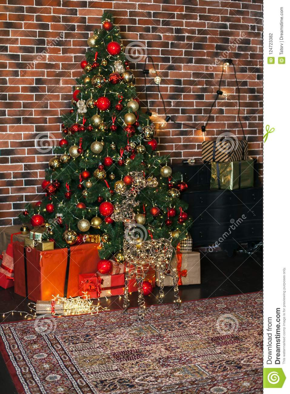 Beautiful Christmas Living Room With Decorated Christmas Tree Gifts And Deer With The Glowing Lights At Night New Year Loft Inte Stock Photo Image Of Living December 124723382