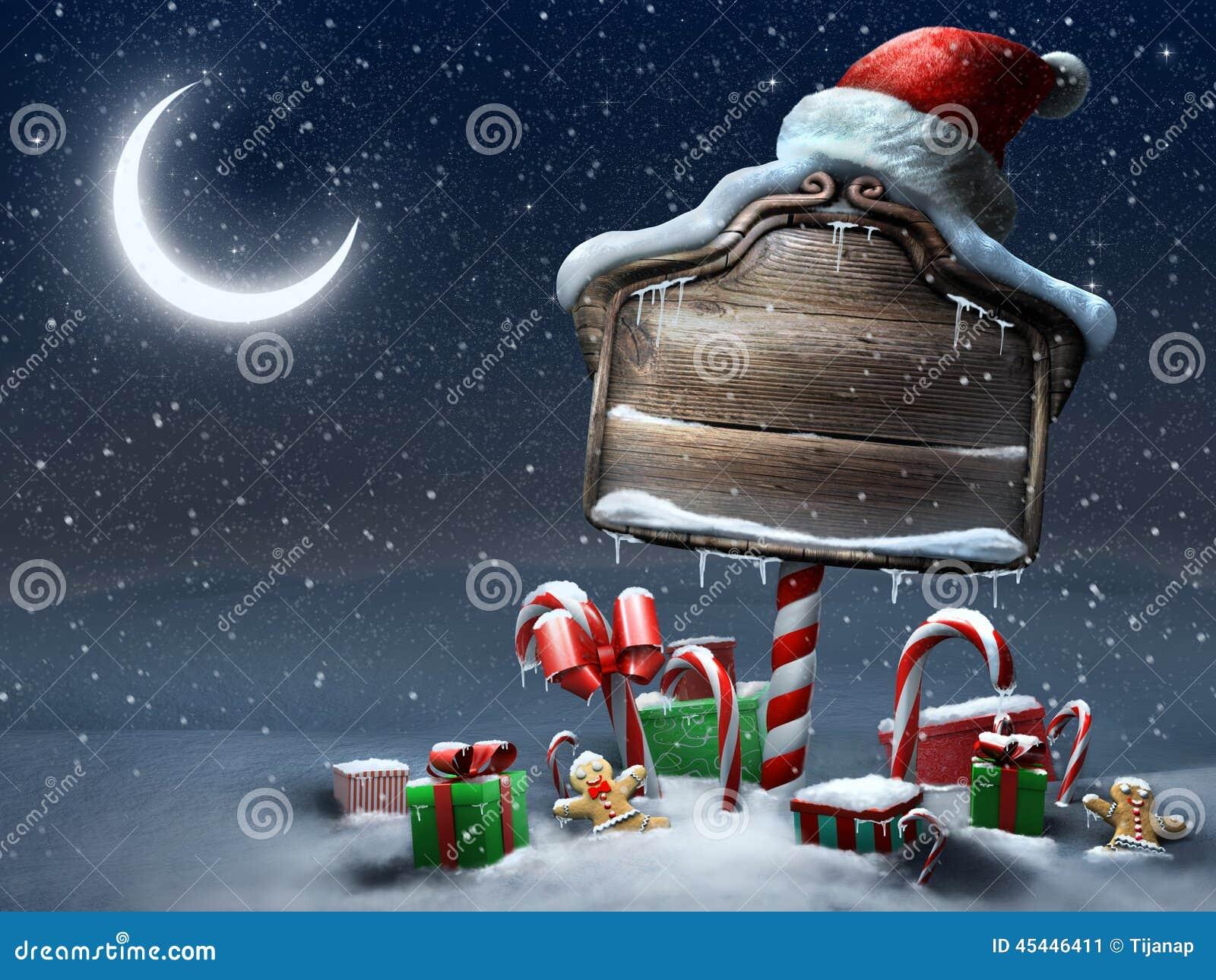 Beautiful Christmas Sign Outdoors Night Scene Stock Illustration ...