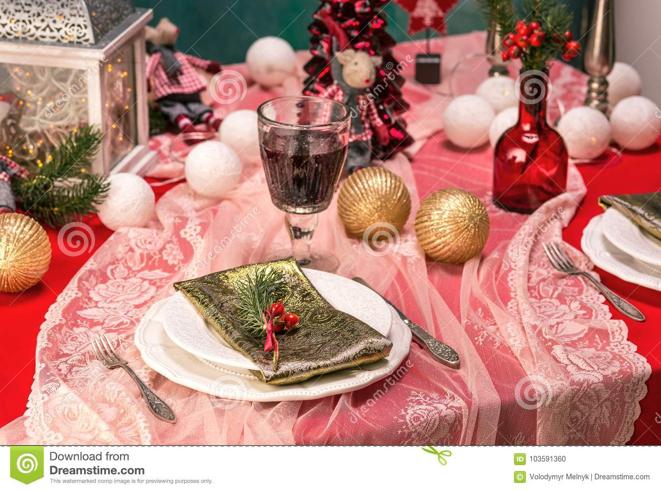 Beautiful Christmas Table Setting With Decorations Stock ...