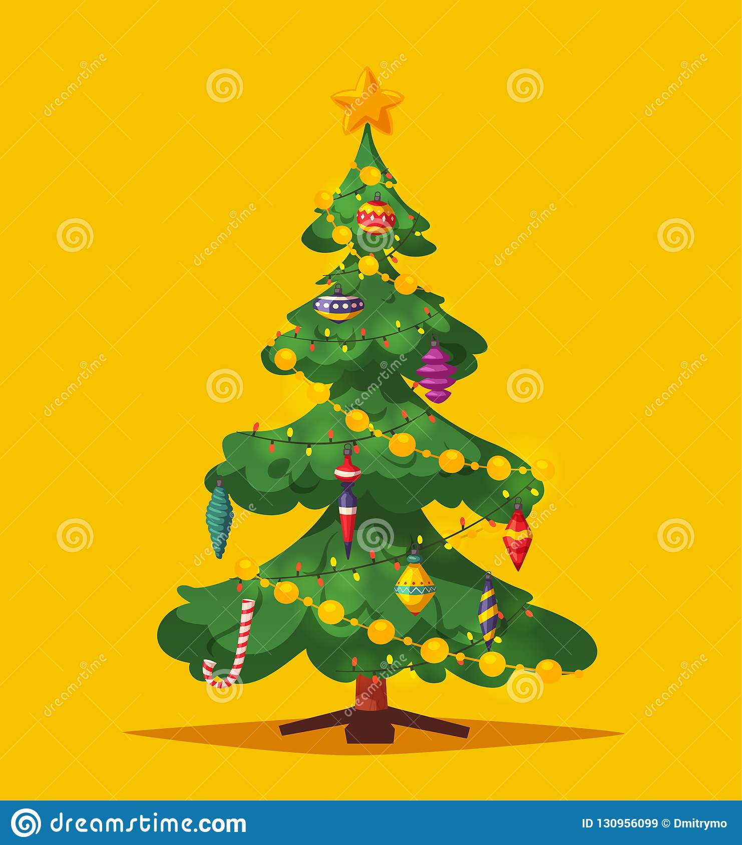 Beautiful Christmas Tree Cartoon Vector Illustration Stock Vector Illustration Of Decorative Happy 130956099