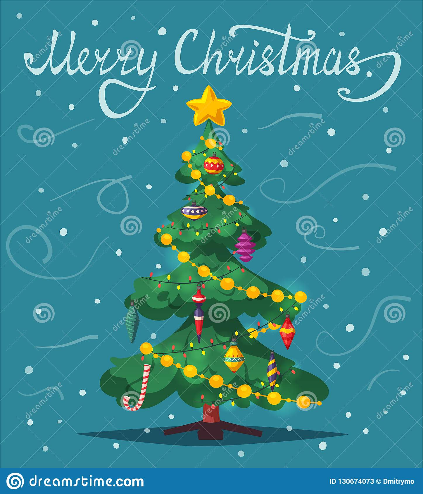 Beautiful Christmas Tree Cartoon Vector Illustration Stock Vector Illustration Of Noel Decoration 130674073