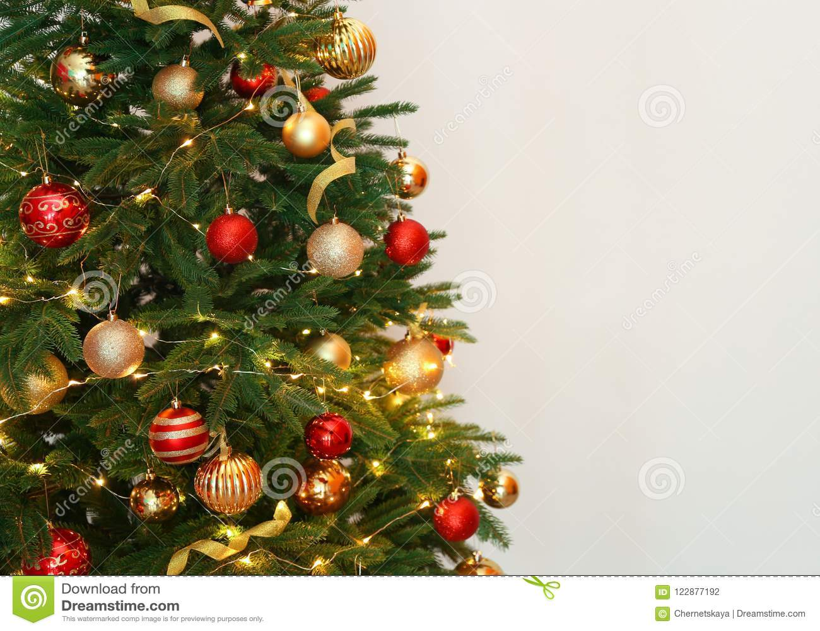 Beautiful Christmas Tree With Fairy Lights And Festive Decor