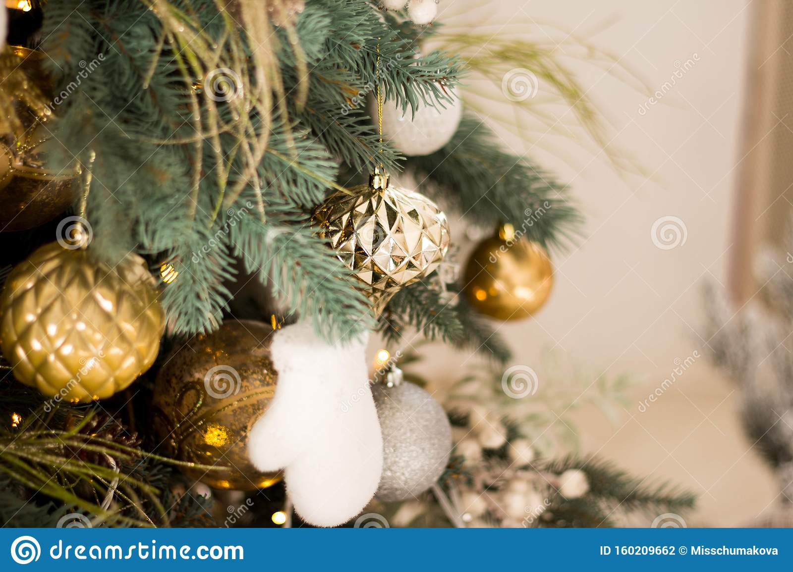 beautiful christmas tree festive gold white decor against blurred lights background closeup wallpaper card copyspace your 160209662