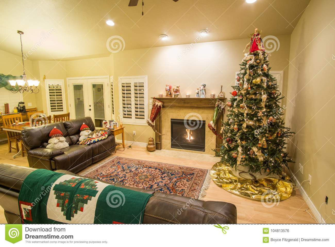 beautiful christmas tree and fireplace with cat relaxing on couch