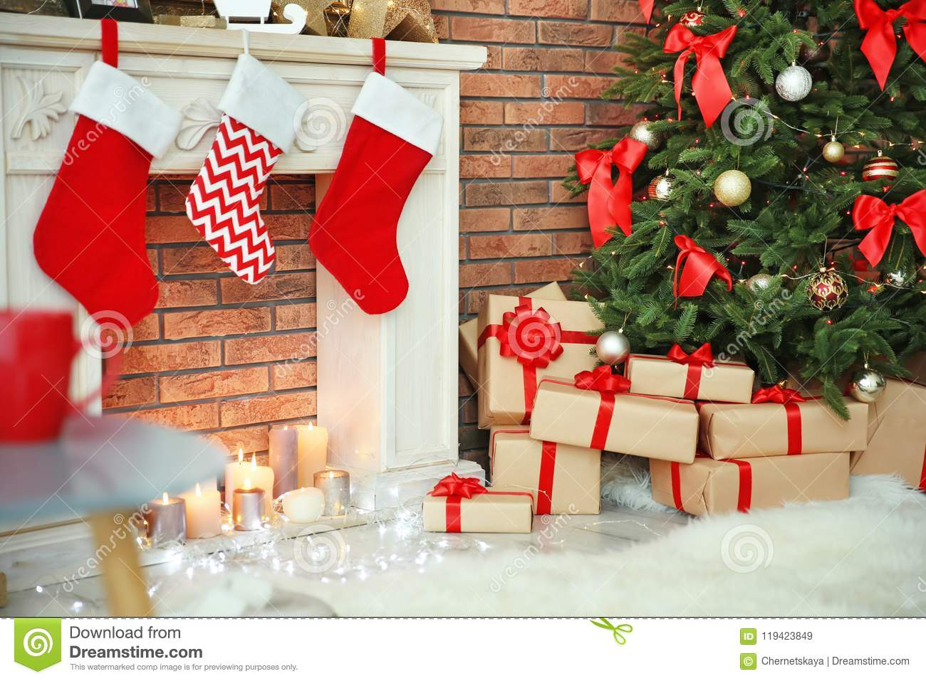 Beautiful Christmas Pictures.Beautiful Christmas Tree And Gifts Stock Image Image Of