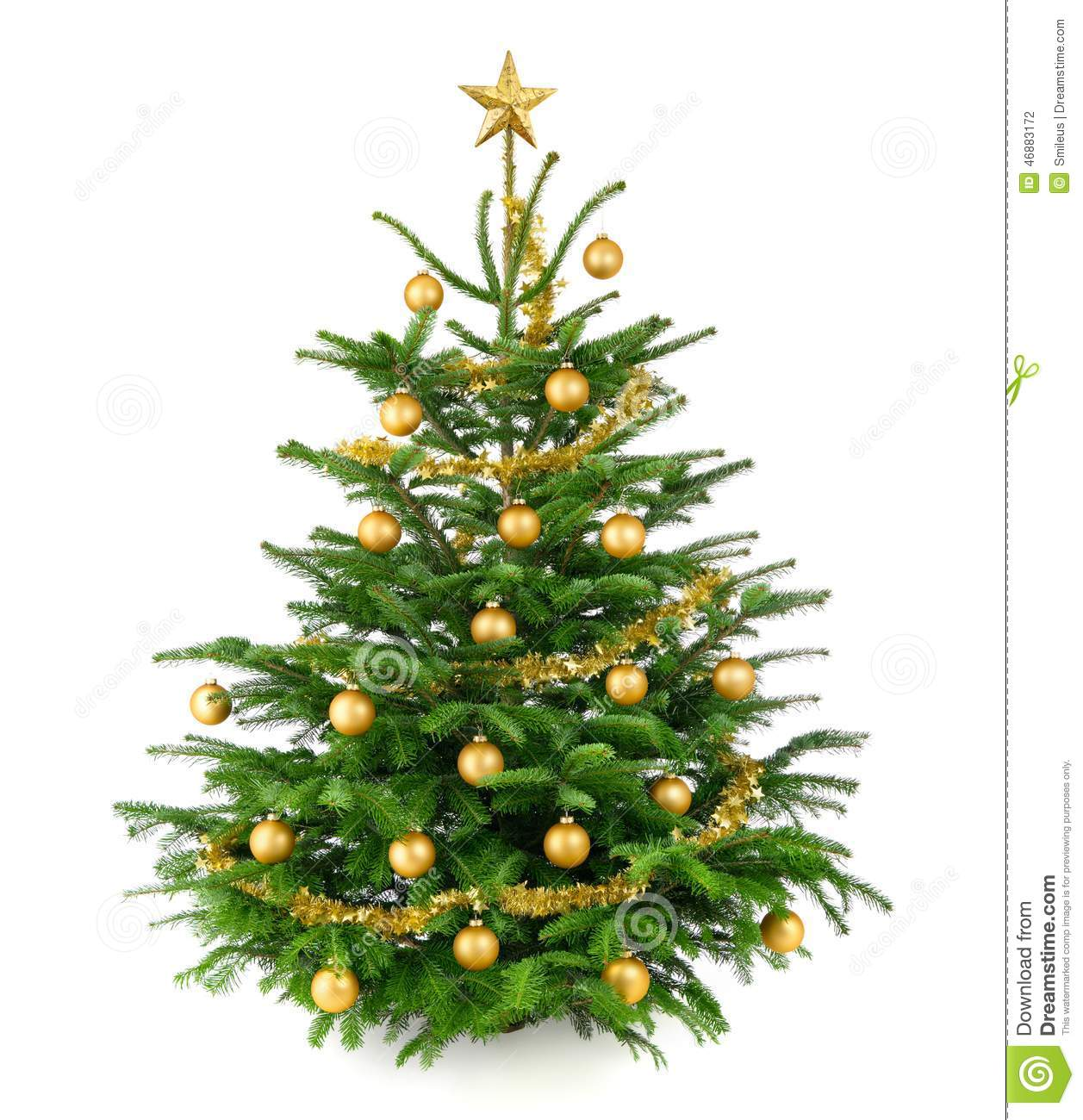 Beautiful Christmas Tree With Gold Baubles Stock Photo Image Of Gift Christmas 46883172