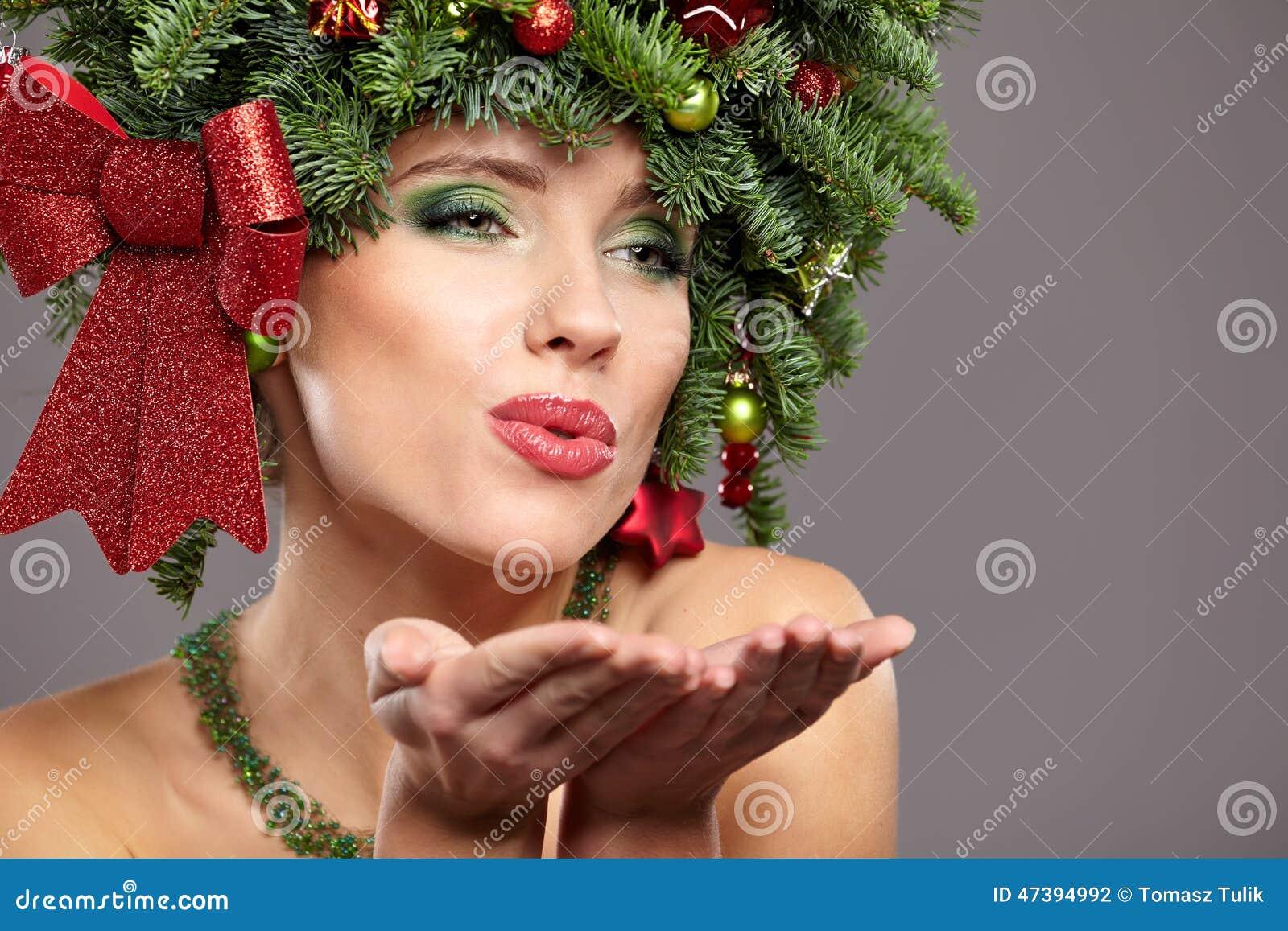 Beautiful Christmas Tree Holiday Hairstyle And Make Stock Photo