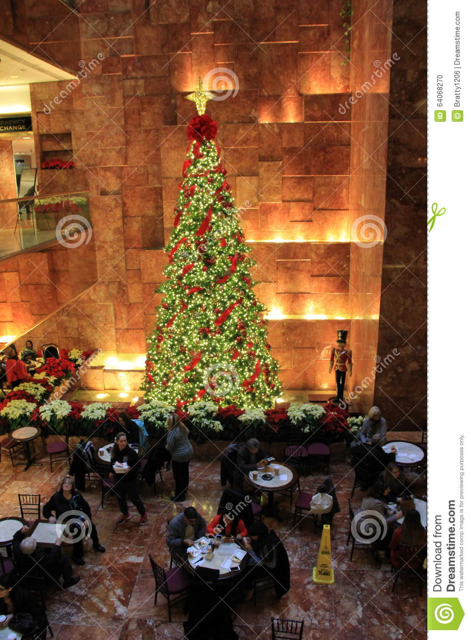 Beautiful Christmas Tree Inside Trump Towers Nyc 2015