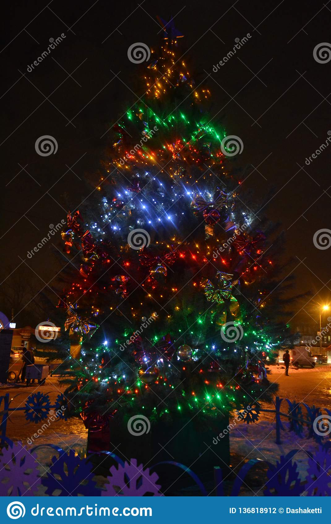 Beautiful Christmas Tree Natural Pine With Red Blue Green And Yellow Led Bulbs Beautiful Balls Toys New Year S Holidays Chr Stock Photo Image Of Decoration Dust 136818912