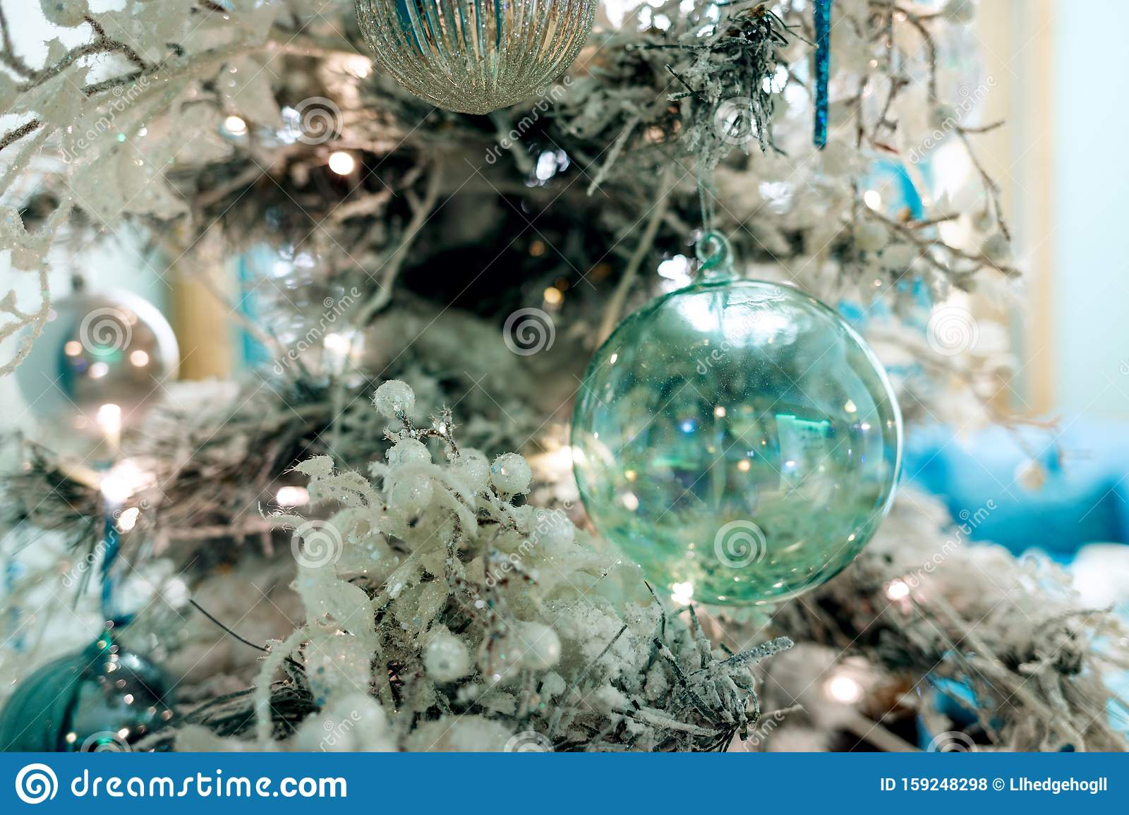 Christmas Tree With White Artificial Snow On Branches And Decorations Stock Photo Image Of Decoration Evening 159248298