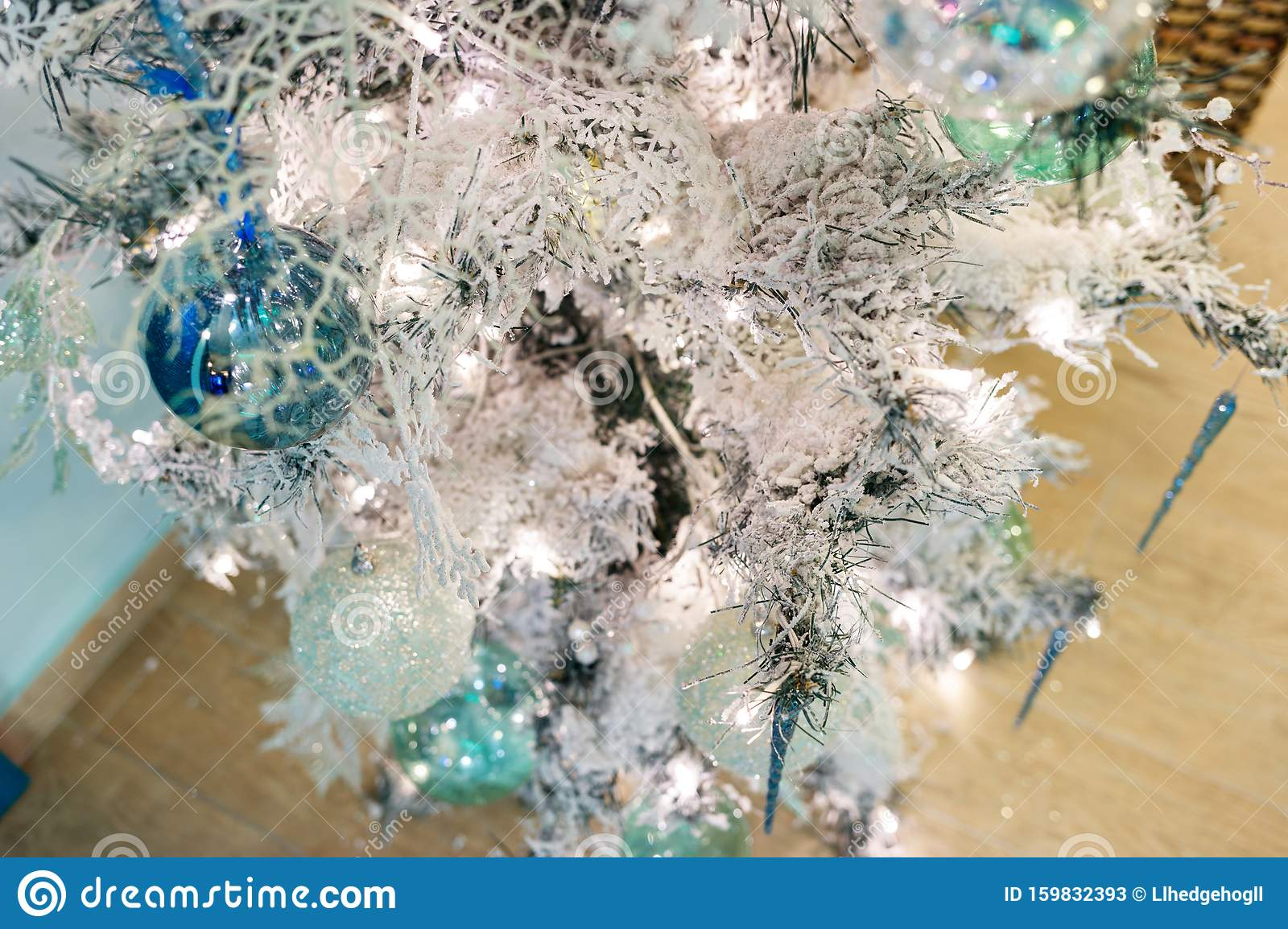 Christmas Tree With White Artificial Snow On Branches And Decorations Stock Image Image Of Magic Snow 159832393