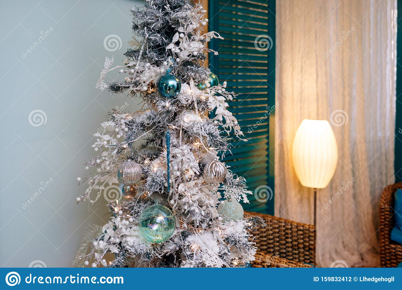 Christmas Tree With White Artificial Snow On Branches And Decorations Stock Photo Image Of Fairytale Holiday 159832412