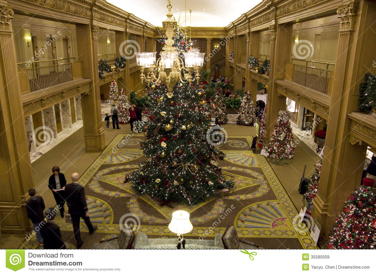 Beautiful Christmas Trees In A Luxury Hotel Editorial Stock Image ...