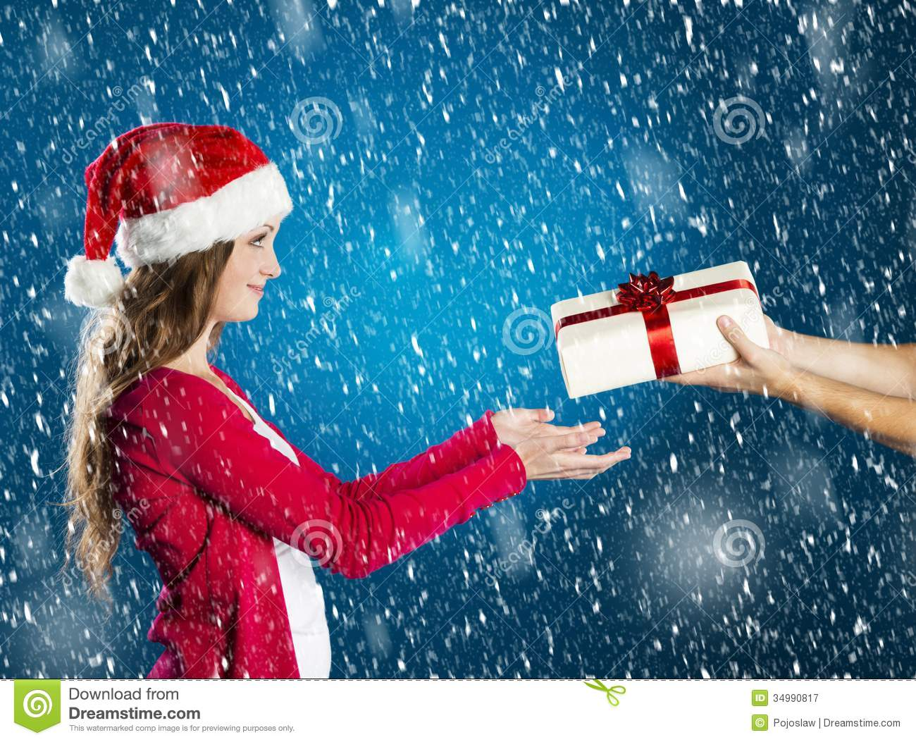 Beautiful christmas woman stock image. Image of love - 34990817