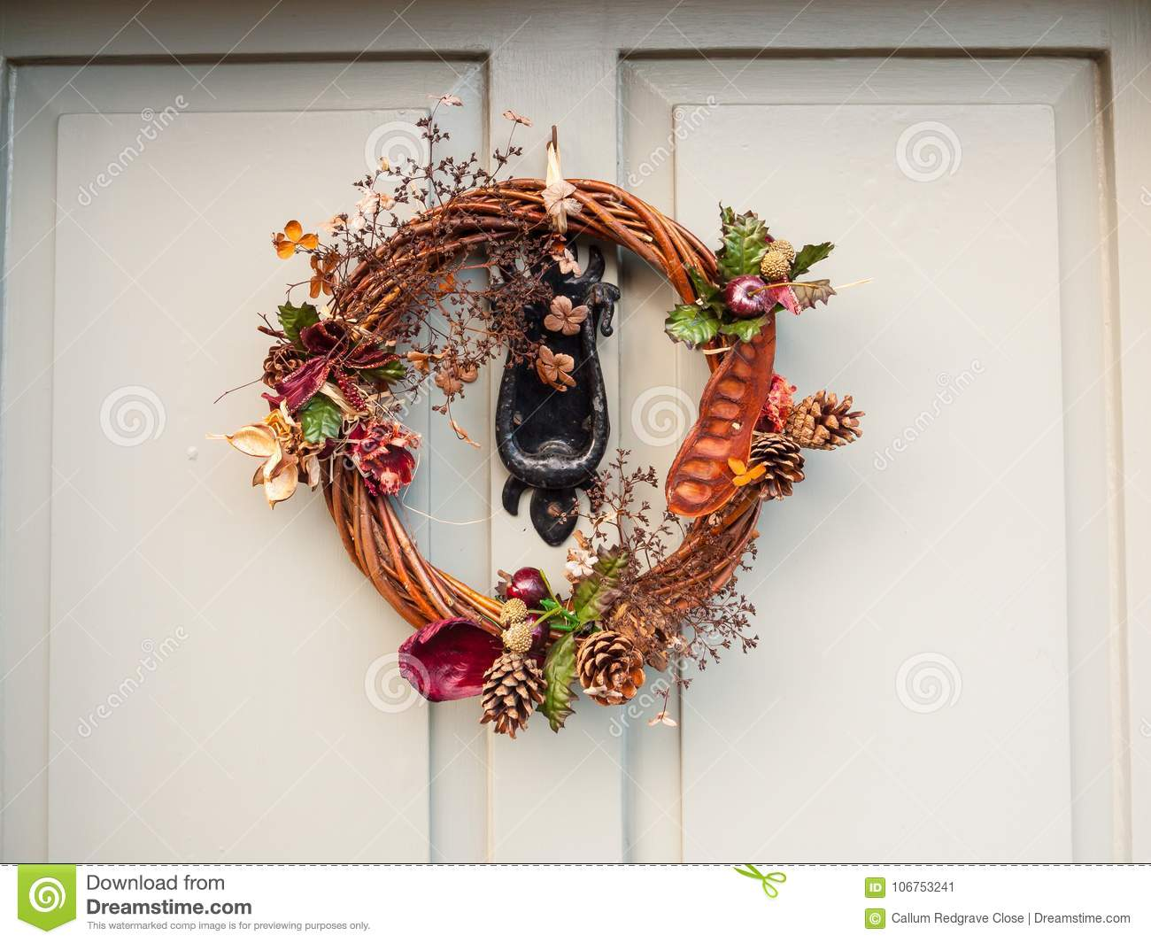 Download Beautiful Christmas Wreath On Front Of Door Hanging Close Up Stock  Image   Image Of