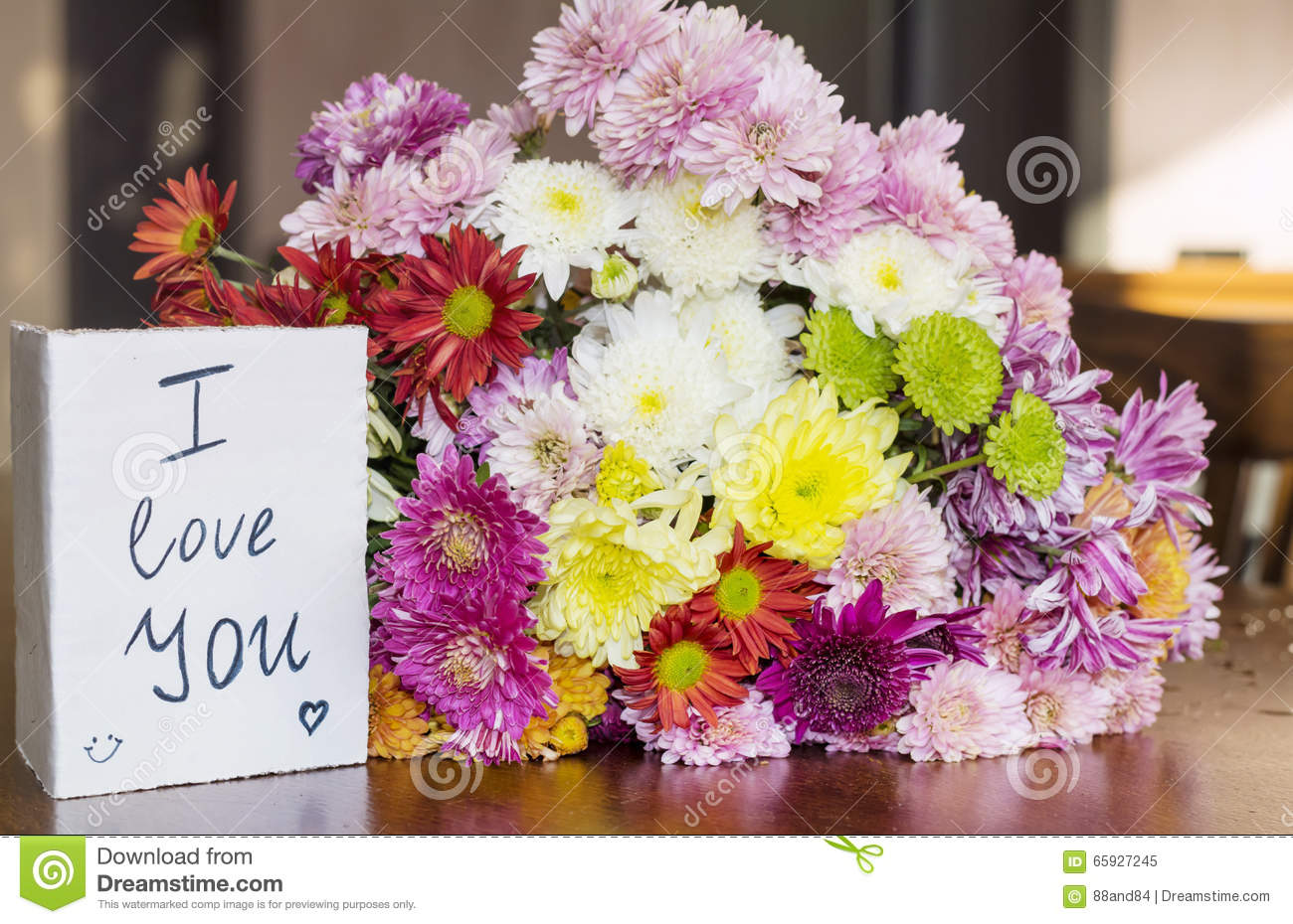 Beautiful Chrysanthemums Bouquet With I Love You Card Stock Image