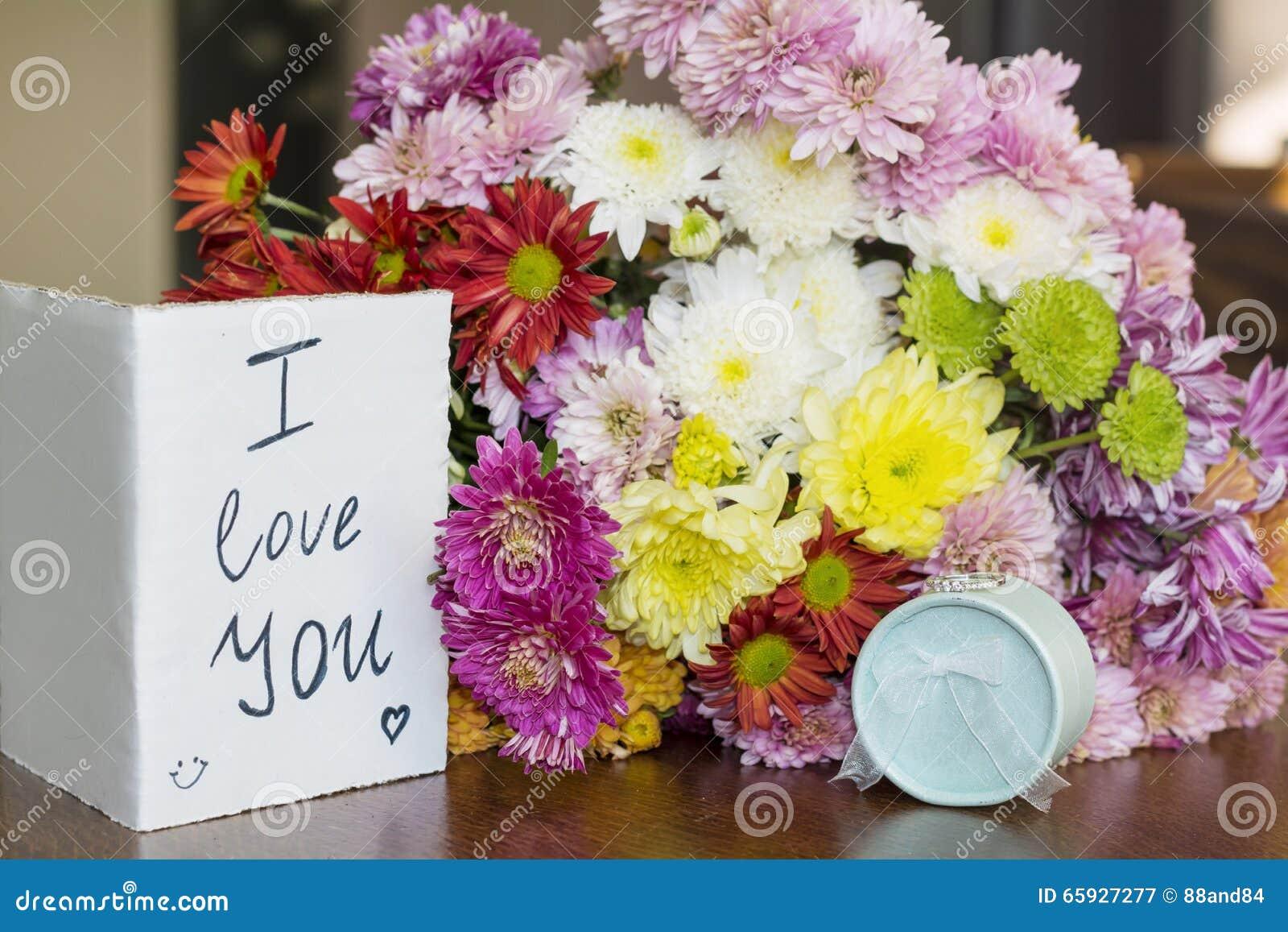 Beautiful Pink Chrysanthemums Bouquet I Love You Card Stock Photos