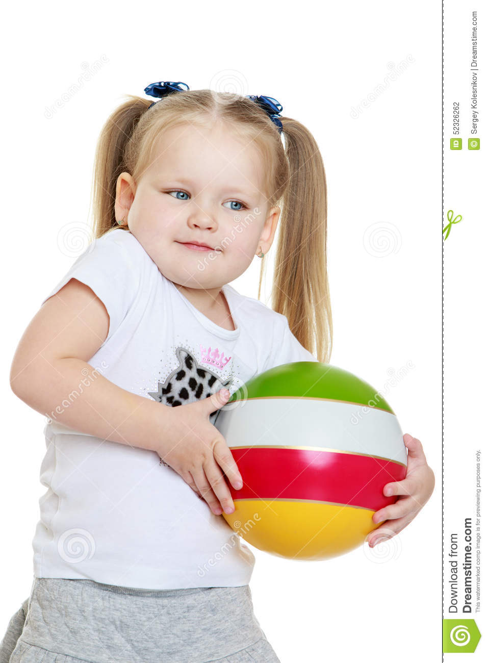 Little Girls Nails And Girls On Pinterest: Beautiful Chubby Little Girl Holding A Ball Stock Photo