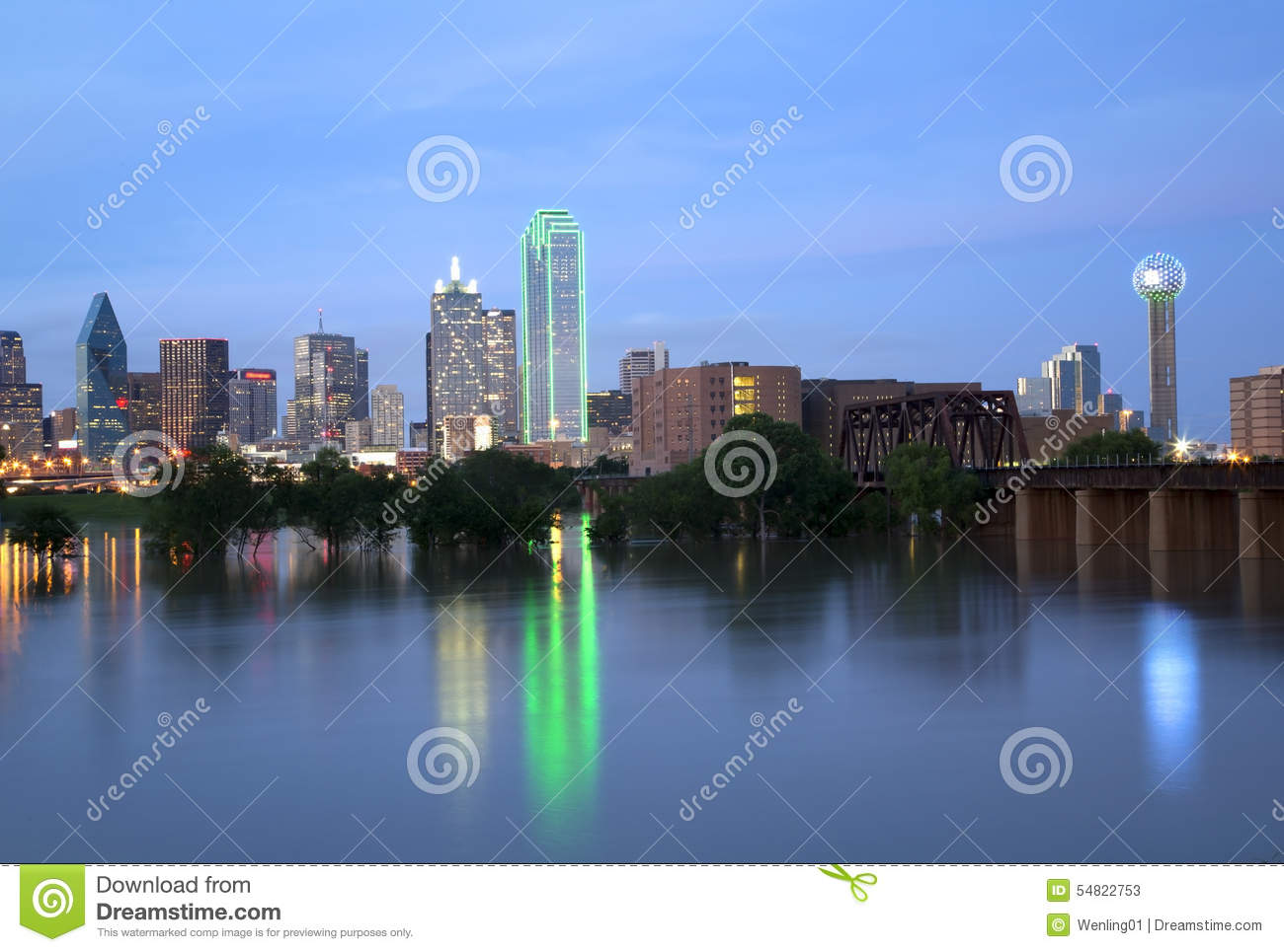 Beautiful city Dallas skyline at night