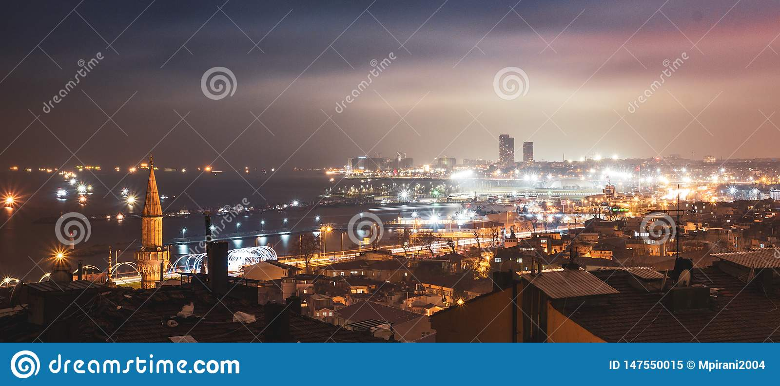The Beautiful City of Istanbul in the Darkness of the Night