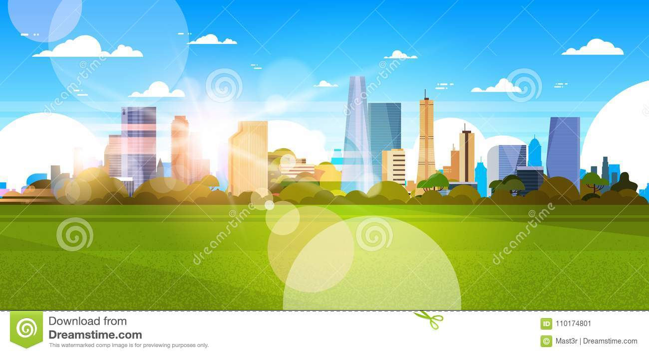 Beautiful City Skyline With Sunlight Over Skyscrapers Buildings Cityscape Concept Horizontal Banner