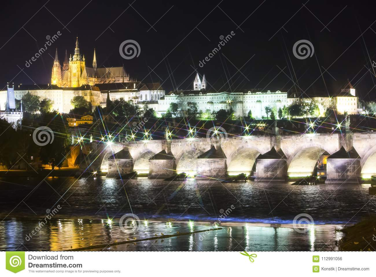 Beautiful Cityscape of Prague at night with Charles BridgeKarluv Most over Vltava river and Prague Castle, Czech Republic