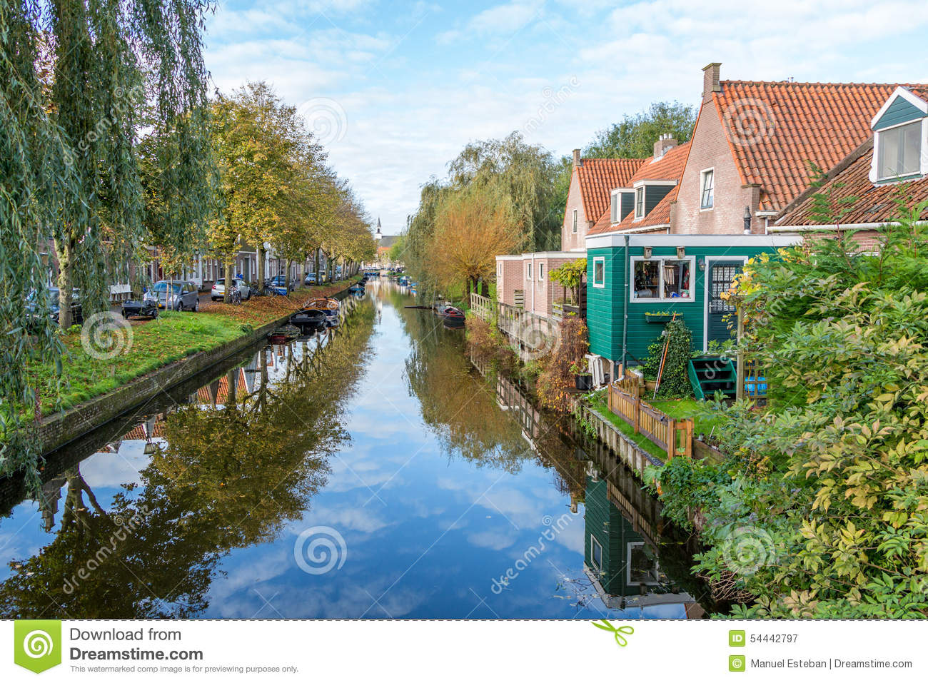 Beautiful classic edam canal scene stock photo image for Beautiful classic houses