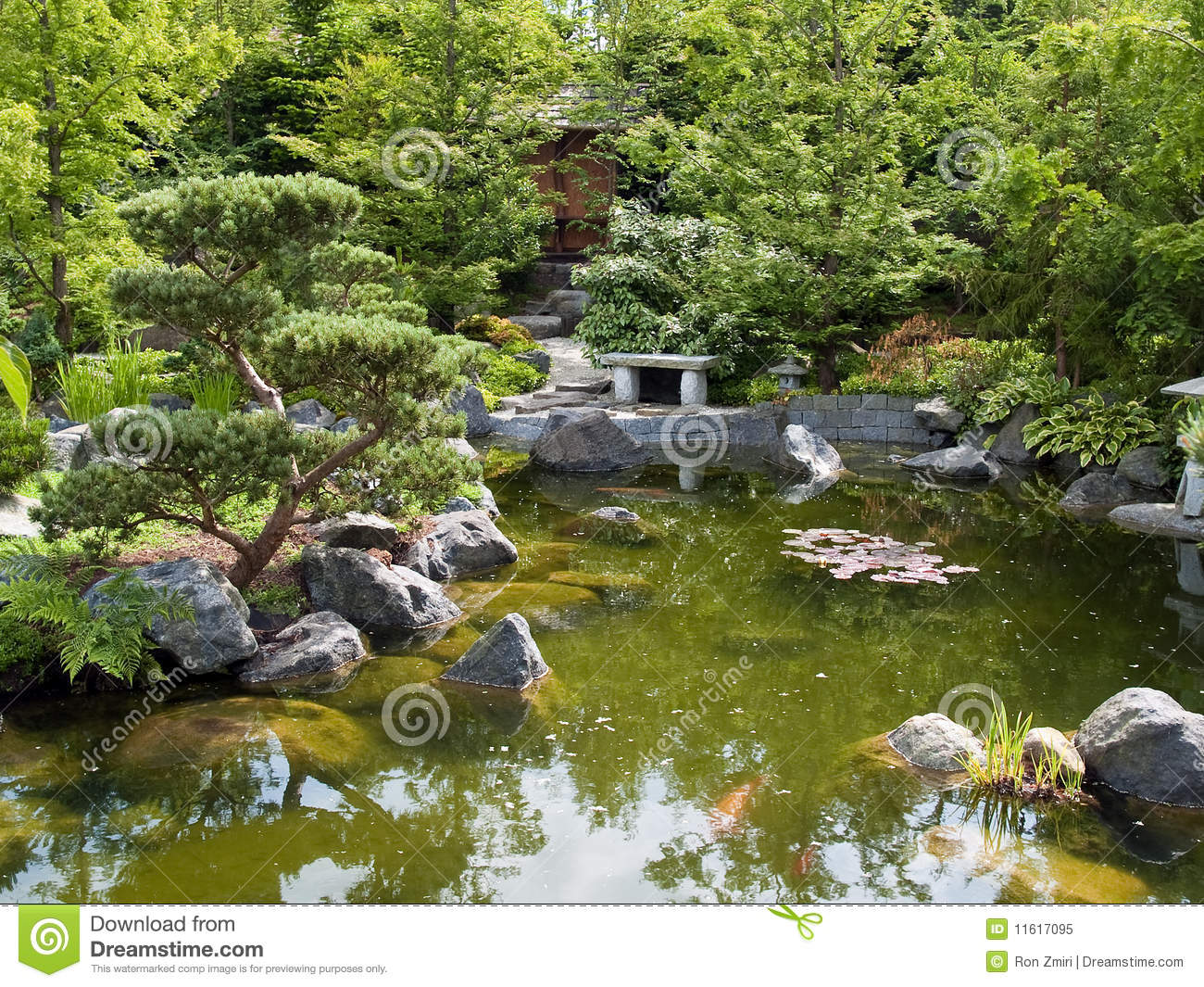 Beautiful Classical Garden Fish Pond Royalty Free Stock
