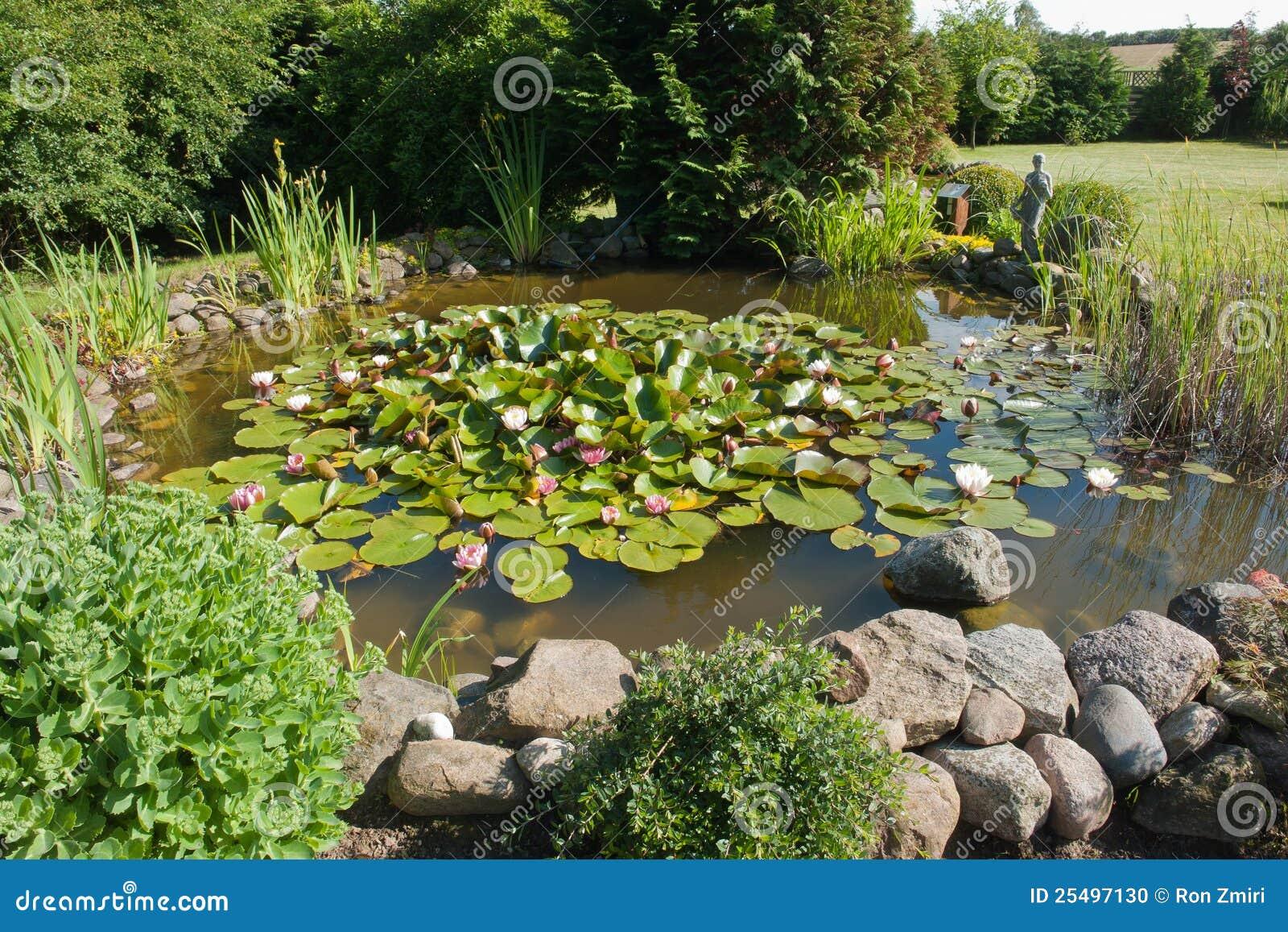 Beautiful Classical Garden Fish Pond Stock Photo Image