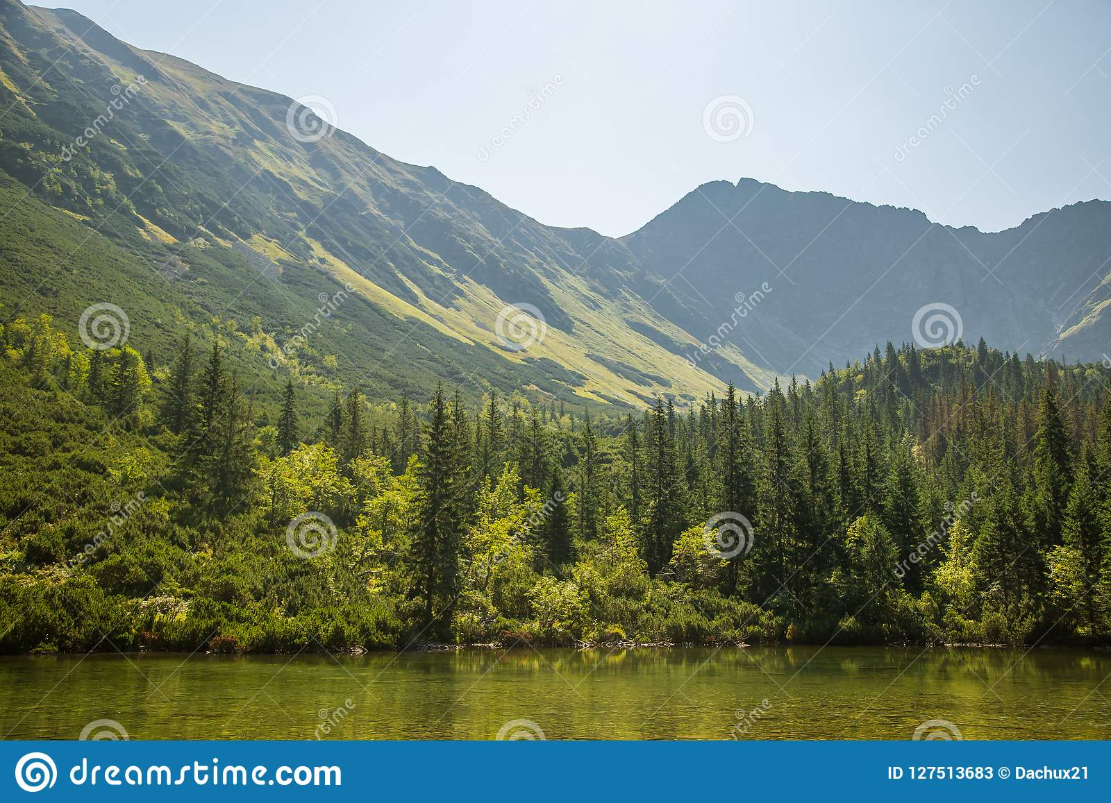 A beautiful, clean lake in the mountain valley in calm, sunny day. Mountain landscape with water in summer.