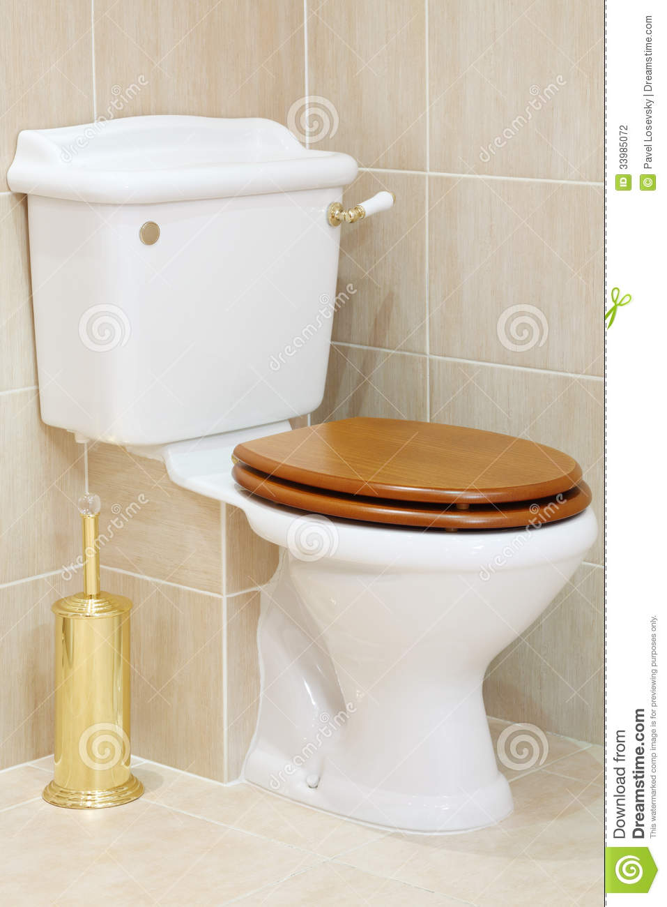 Wood Toilet Lid : Beautiful clean and white toilet with wooden lid stock