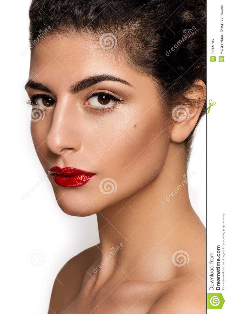 Beautiful Closeup Portrait Of Young Caucasian Female Isolated On