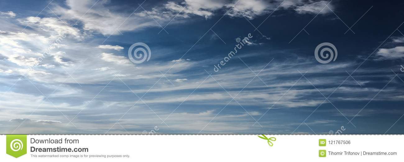 Clouds on blue sky background. Weather nature blue sky with white cloud and sun.